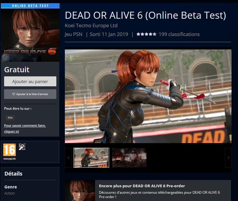 DOA6 Beta PS4