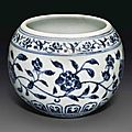 A small blue and white globular bowl, jingshuiwan, Yongle period (1403-1425)