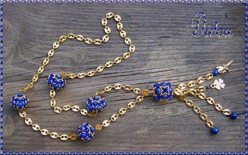 Sautoir DRW et octa lapis lazuli et or