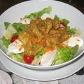 Salade et poulet pané actifry
