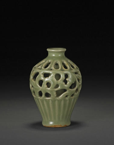 A rare reticulated Longquan celadon meiping, Ming dynasty. Photo Bonhams