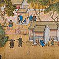 Fragment de rouleau impérial à l'encre et couleur sur soie, chine, dynastie qing, époque qianlong (1736-1795)