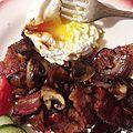 Oeufs pochés-champignons lardons caramélisés