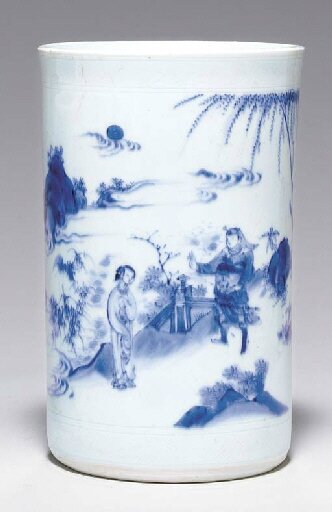 A blue and white brushpot, bitong, Transitional period, ca