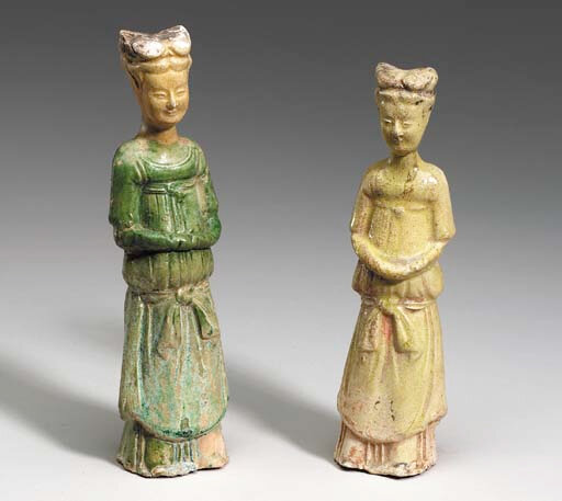 Two Small Glazed Pottery Figures of Female Attendants, Sui Dynasty (589-618)