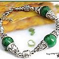 Bracelet ethnique capa 3 perles 12 mm jade vert argent du tibet