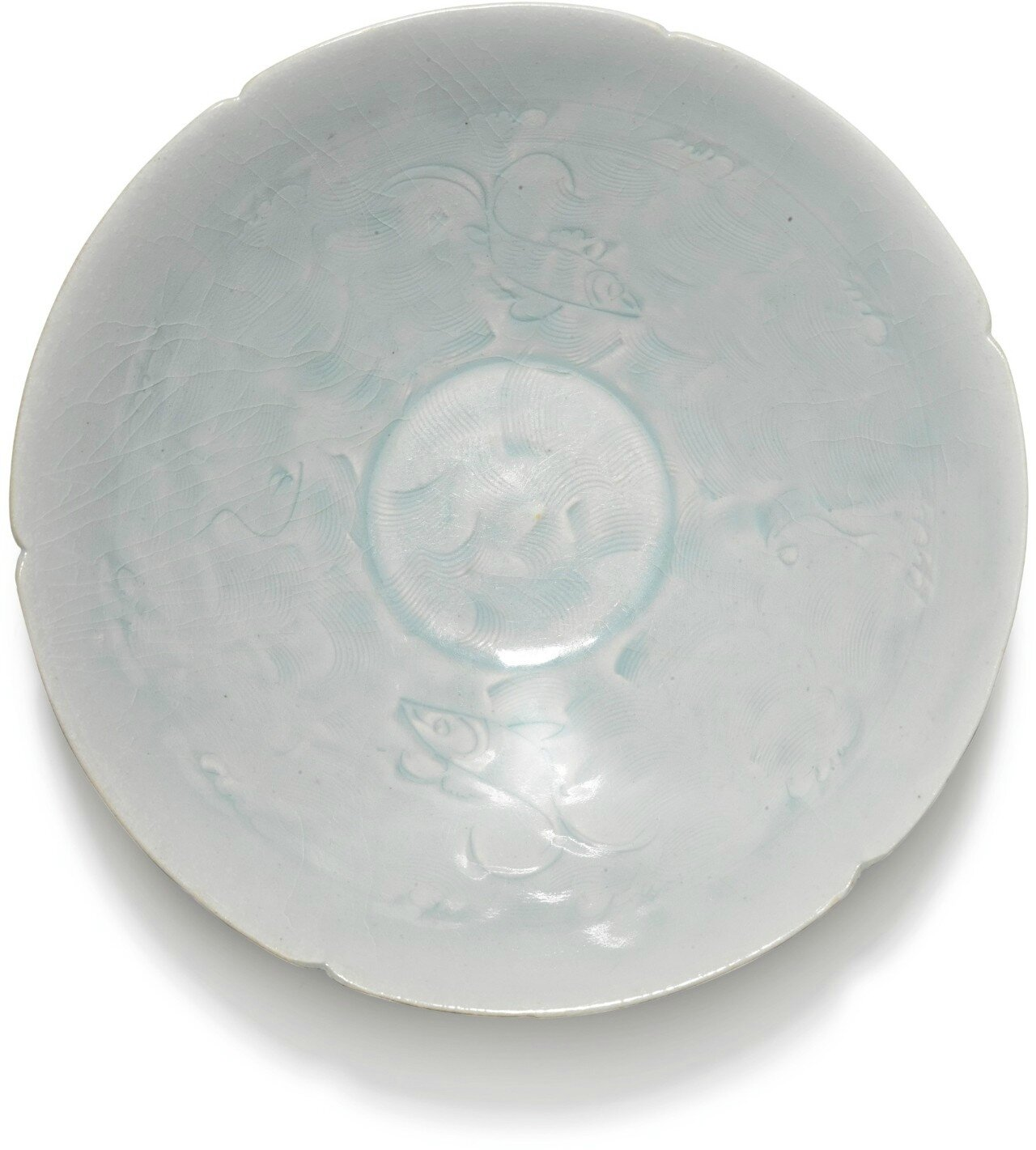 A carved Qingbai 'fish' bowl, Song dynasty
