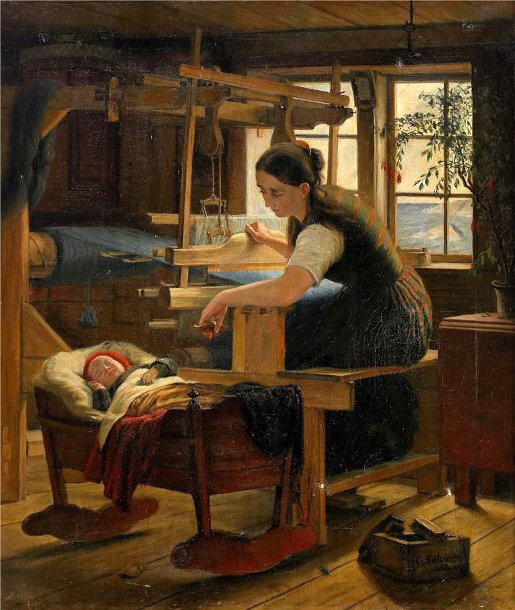 cottage-interior-with-woman-at-the-cradle