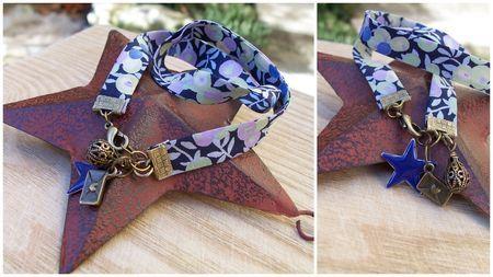 Bracelet double liberty, laiton et étoile bleu