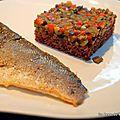 Filet de bar, riz rouge et macédoine de légumes du sud au chorizo