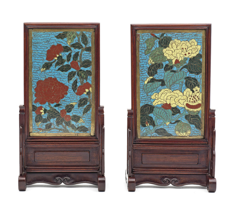 A pair of cloisonné enamel rectangular table screens Late Ming Dynasty