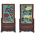 A pair of cloisonné enamel rectangular table screens, late ming dynasty