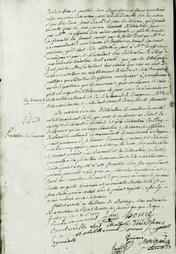 Le vendredi 4 septembre 1789 à Mamers, serment..