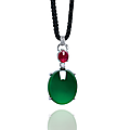 A highly important jadeite, ruby and diamond pendant necklace