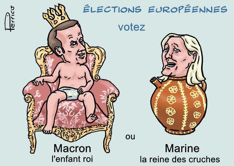 Macron et Marine Le Pen - roi et reine 18 mai 2019
