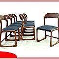 Chaises baumann traineaux vintage 1960 rénovées skaï neuf vendu