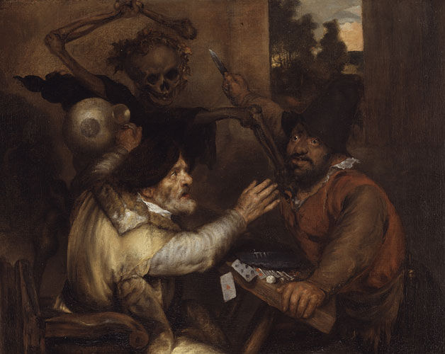 Jan Lievens, Fighting Cardplayers and Death, ca. 1638