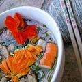 Ramen version crevettes et fleurs du jardin
