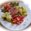 Salade de pomme de terre, asperges vertes et pancetta croustillante