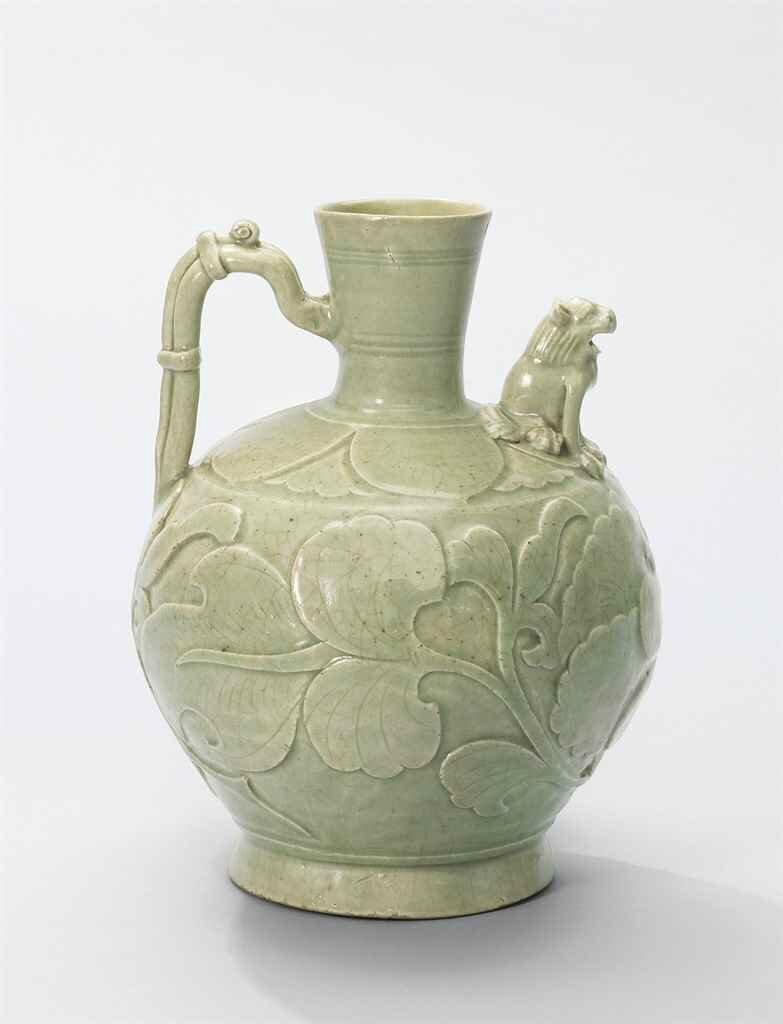 A Yaozhou carved 'Peony' ewer, Five Dynasties-Northern Song Dynasty (907-1127)