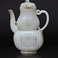 A fine and rare white jade 'double-gourd' ewer with poem inscription. china, qing-dynasty (1644-1911)