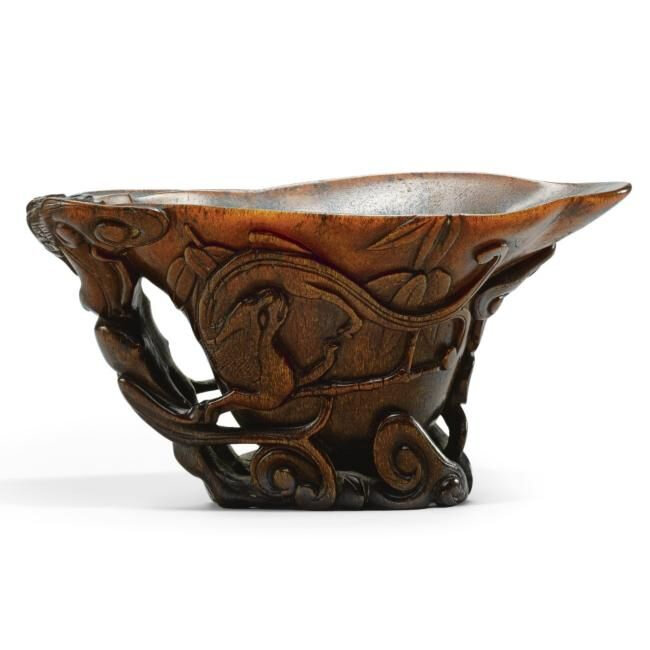 Lot 24. A rare rhinoceros horn 'Chilong' libation cup, 17th century; 16.2cm., 6 3/8 in. Estimate 60,000—80,000 GBP. Lot Sold 91,250 GBP. Photo Sotheby's 2011