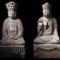 Two stone figures of guanyin, liao-song dynasty
