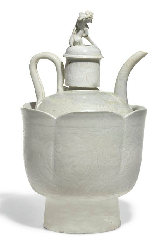 A Qingbai ewer, cover and basin, Song dynasty (960-1279)