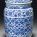 A ming-style blue and white cylindrical jar and cover, 18th century