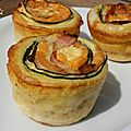 Tourbillons de courgettes cheddar bacon