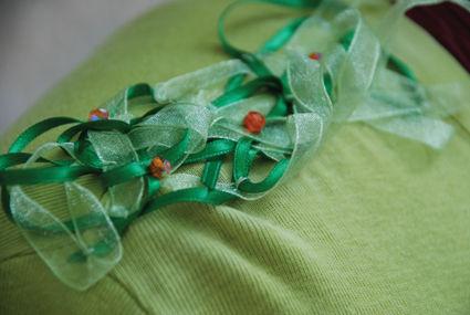 Tshirt vert FLEURS DE PERLES détail