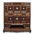 A fine carved huanghuali cabinet with ivory details, vietnam, 1st half 19th century