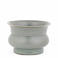 A rare Longquan Guan-type celadon-glazed spittoon, zhadou, Southern Song Dynasty (1127-1279)