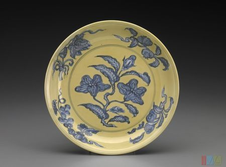 Ming dynasty, Hongzhi (1488-1505 ). Yellow dish with blue flowers, porcelain with underglaze blue and overglaze yellow enamel. Gift of Mr. and Mrs. Eli Lilly