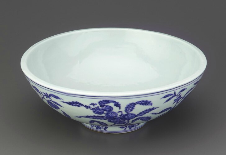 Shallow bowl with thick walls, 1426-1435, Ming dynasty, Xuande reign. Porcelain with cobalt decoration under colorless glaze. H: 9.6 W: 26.1 cm .Jingdezhen, China. Purchase F1952.6. Freer/Sackler © 2014 Smithsonian Institution