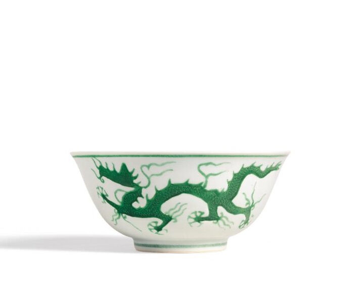 A Fine Green-Enamel 'Dragon' Bowl, Mark and Period of Zhengde
