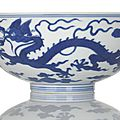 An imperial blue and white 'dragon' bowl, china, underglaze blue qianlong seal mark and period.