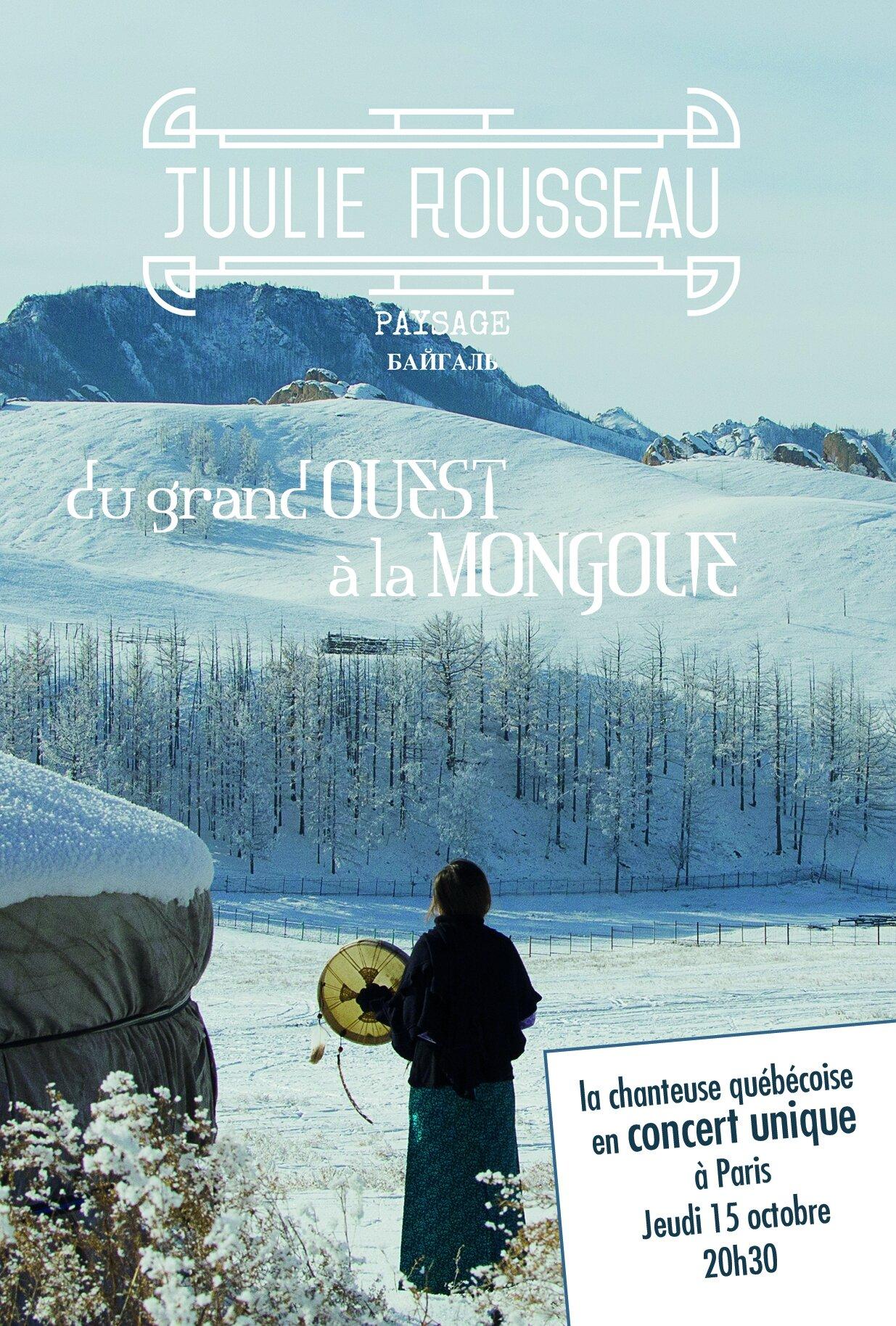 Jeudi 15 octobre à 20h PARIS : SOIREE Du grand Ouest à la Mongolie