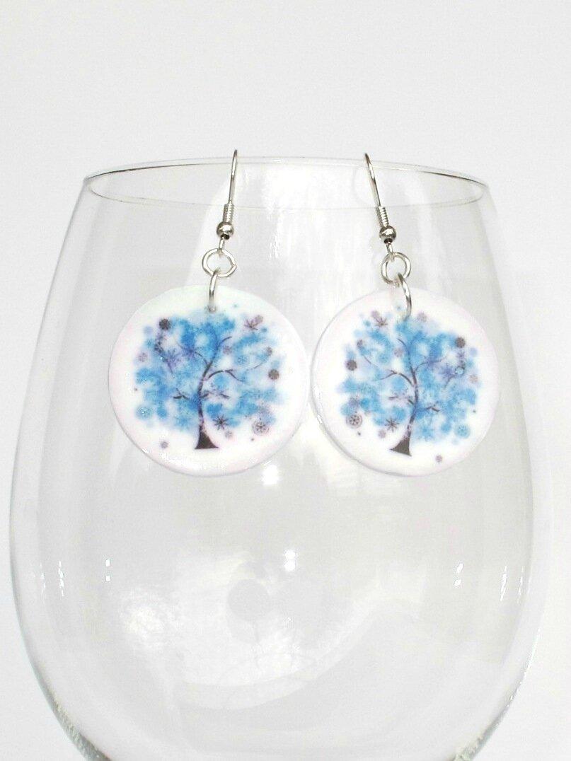 boucles d'oreilles fimo rondes arbre bleu verre