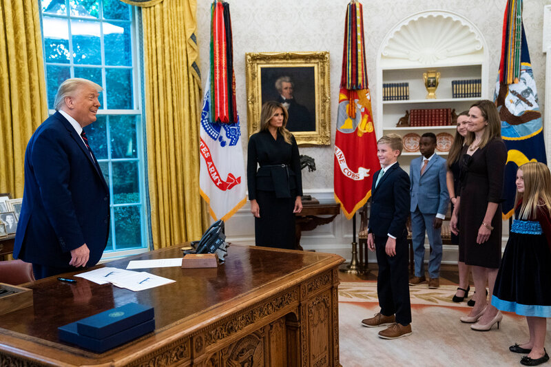 Amy Coney Barrett and family in Oval Office