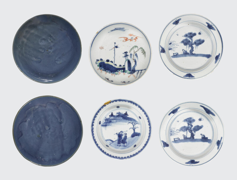 A group of six export porcelain saucer dishes with cobalt decoration, Late Ming-Transitional period