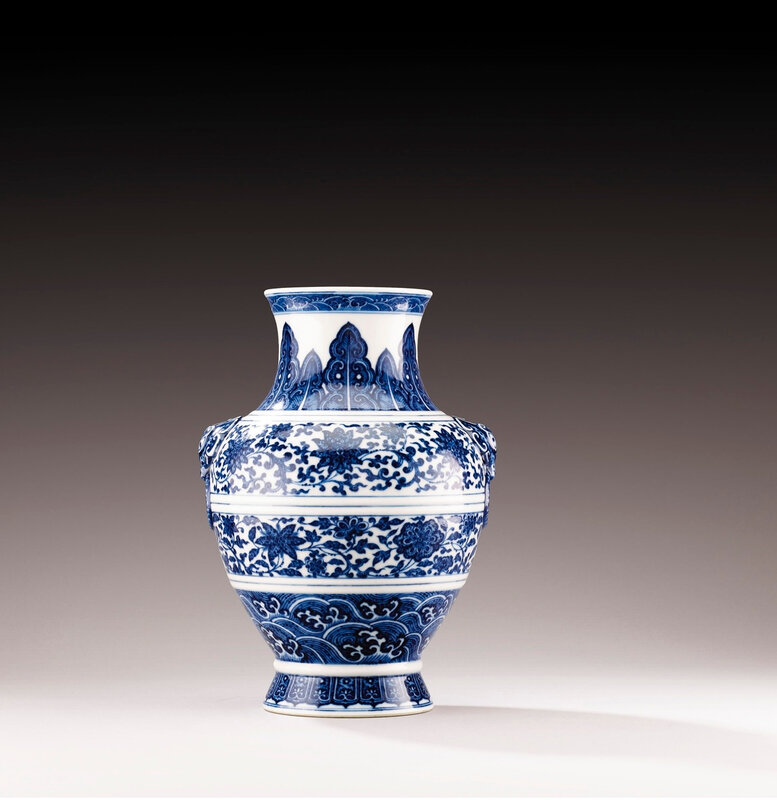 A Ming-style blue and white vase, hu, China, Qing dynasty, Qianlong mark and period (1736-1795)