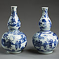 Pair of chinese gourd-shaped vases, porcelain, c 1635-40, at ickworth house, suffolk
