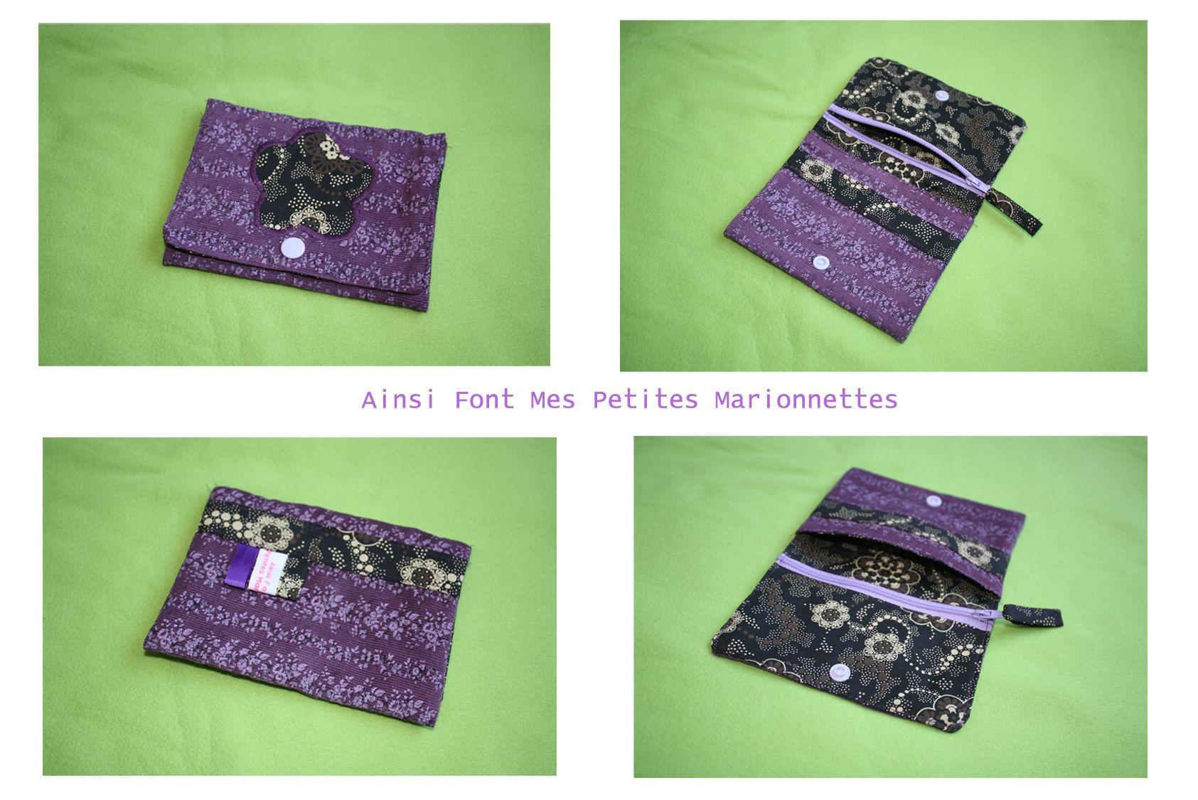 porte monnaie-carte violet noir