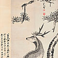 Bada shanren (1626-1705), stag and pine, 1786
