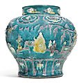 A turquoise-glazed fahua jar, late ming dynasty