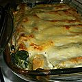 Gratin de cannellonis épinards saumon