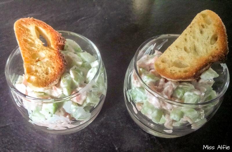 Verrines de concombre et saumon fumé