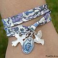 Bracelet double tour Croix en nacre, médaille miraculeuse et colombe en nacre - 35 €