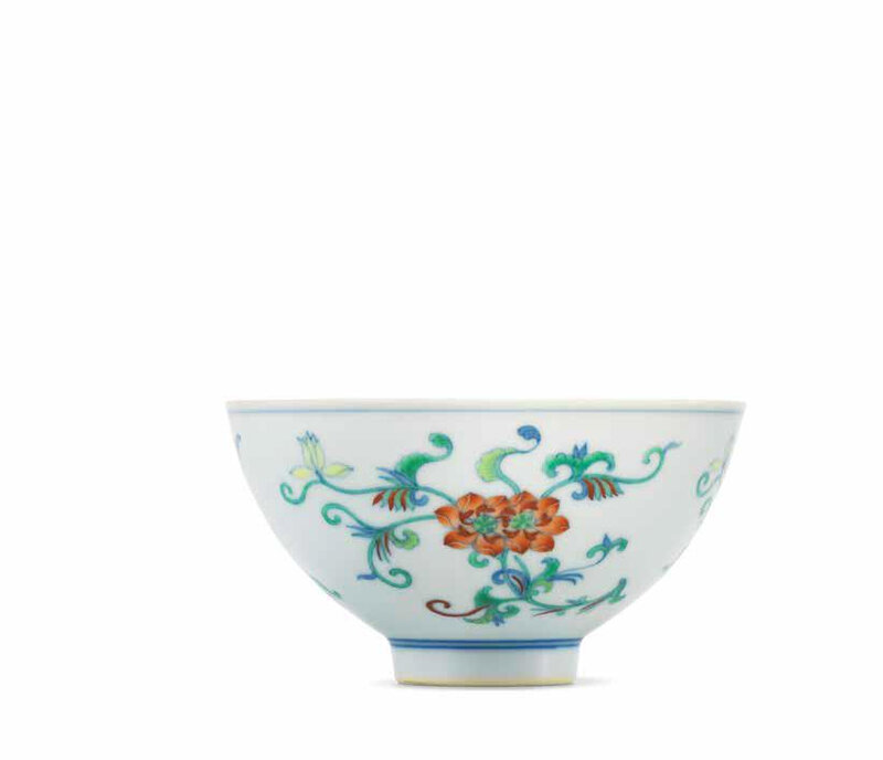 A very rare doucai 'double lotus' bowl, Yongzheng six-character mark and of the period (1723-1735)